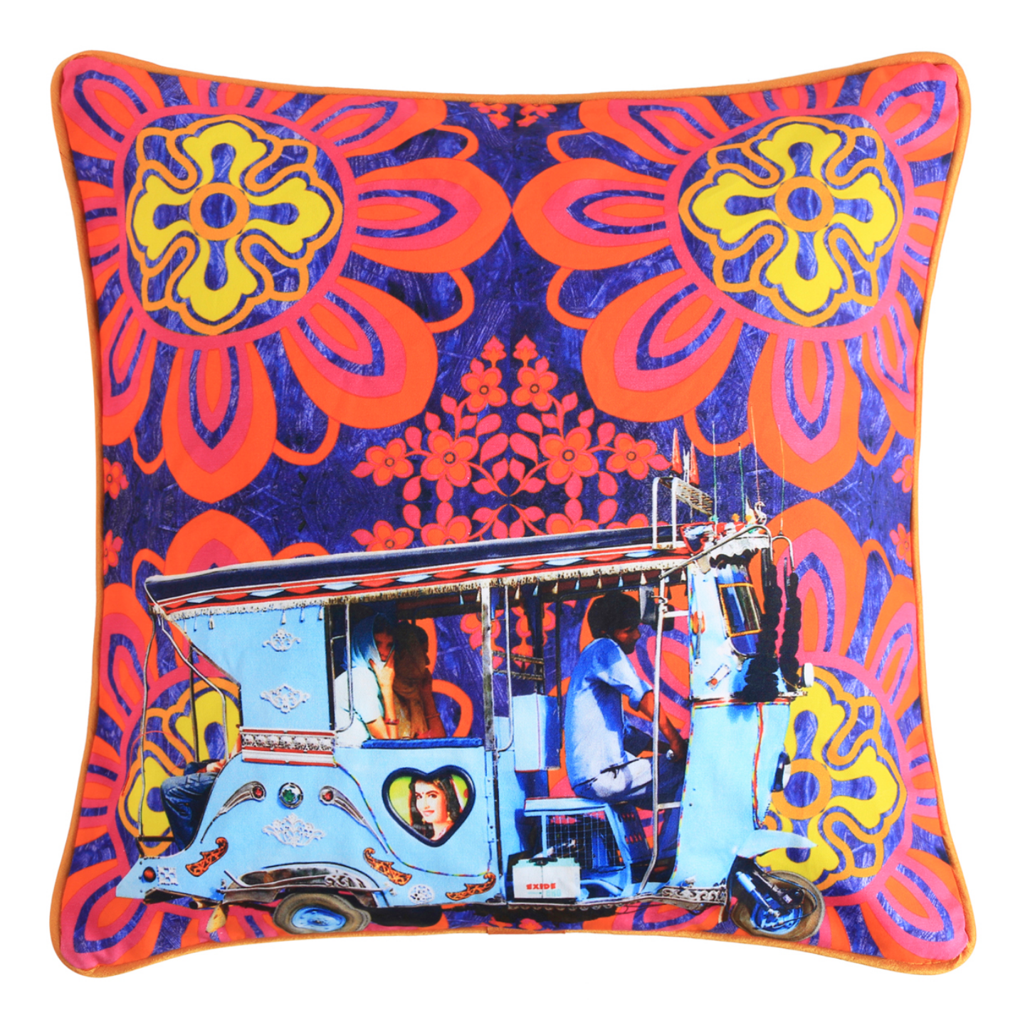 Sky Blue Taxi Glaze Cotton Cushion Cover 16x16 Inches
