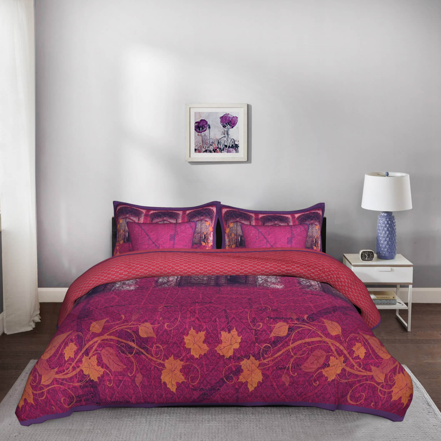 Shekhawati Doorway King Size Cotton Quilted Purple Bedspread