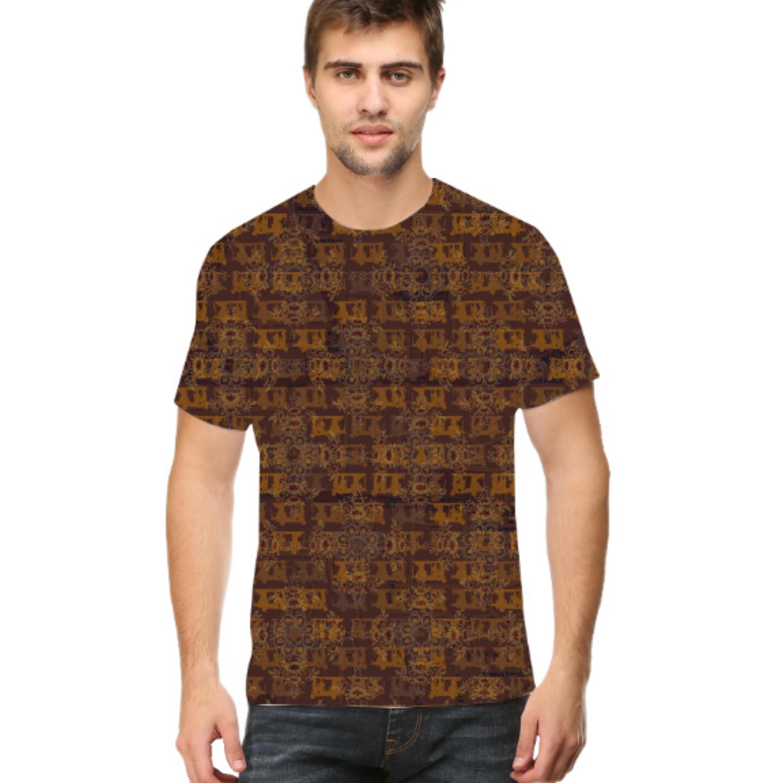 Men Brown Ancient Flower Round Neck T-Shirt
