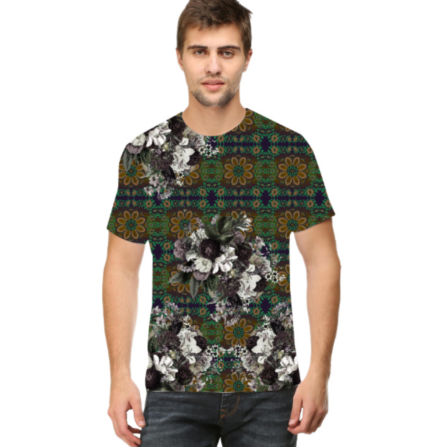 Men Abstract Flower Print Inspired Printed Round Neck T-Shirt