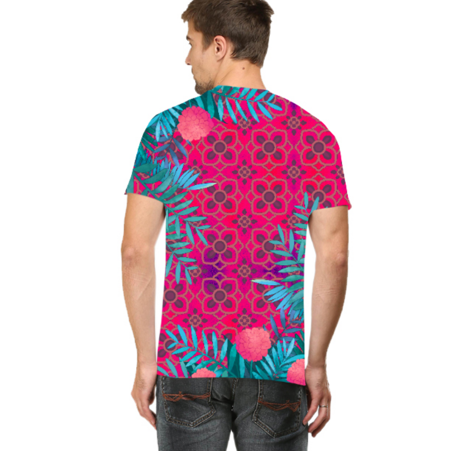 Men Pink and Blue Jungle Round Neck T-Shirt