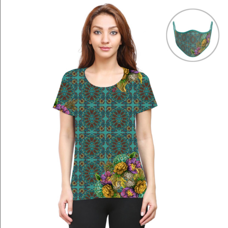 Women Geometric Design Flowery T-Shirt Mask Combo