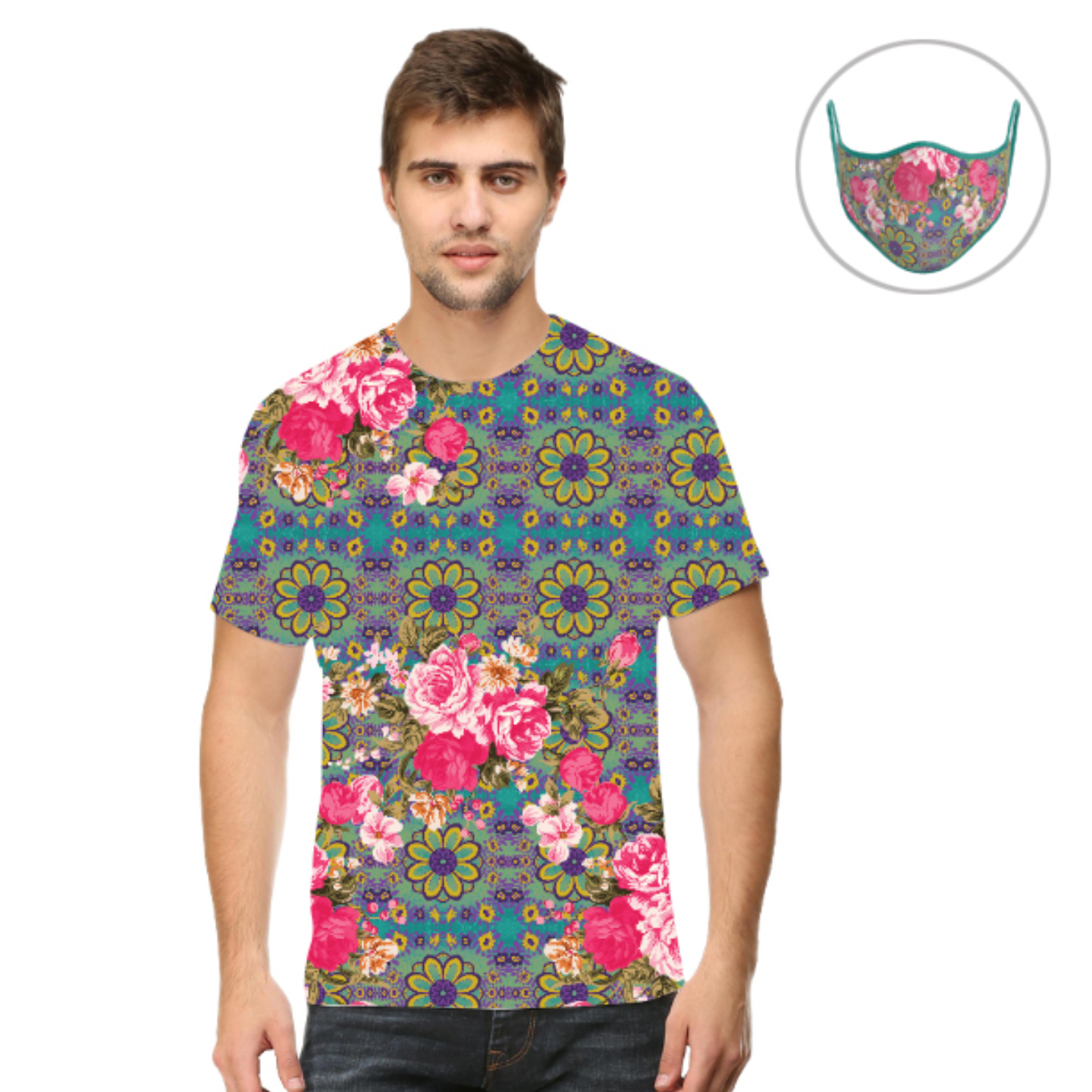 Men Cool Blue and Pink Flowery T-Shirt Mask Combo