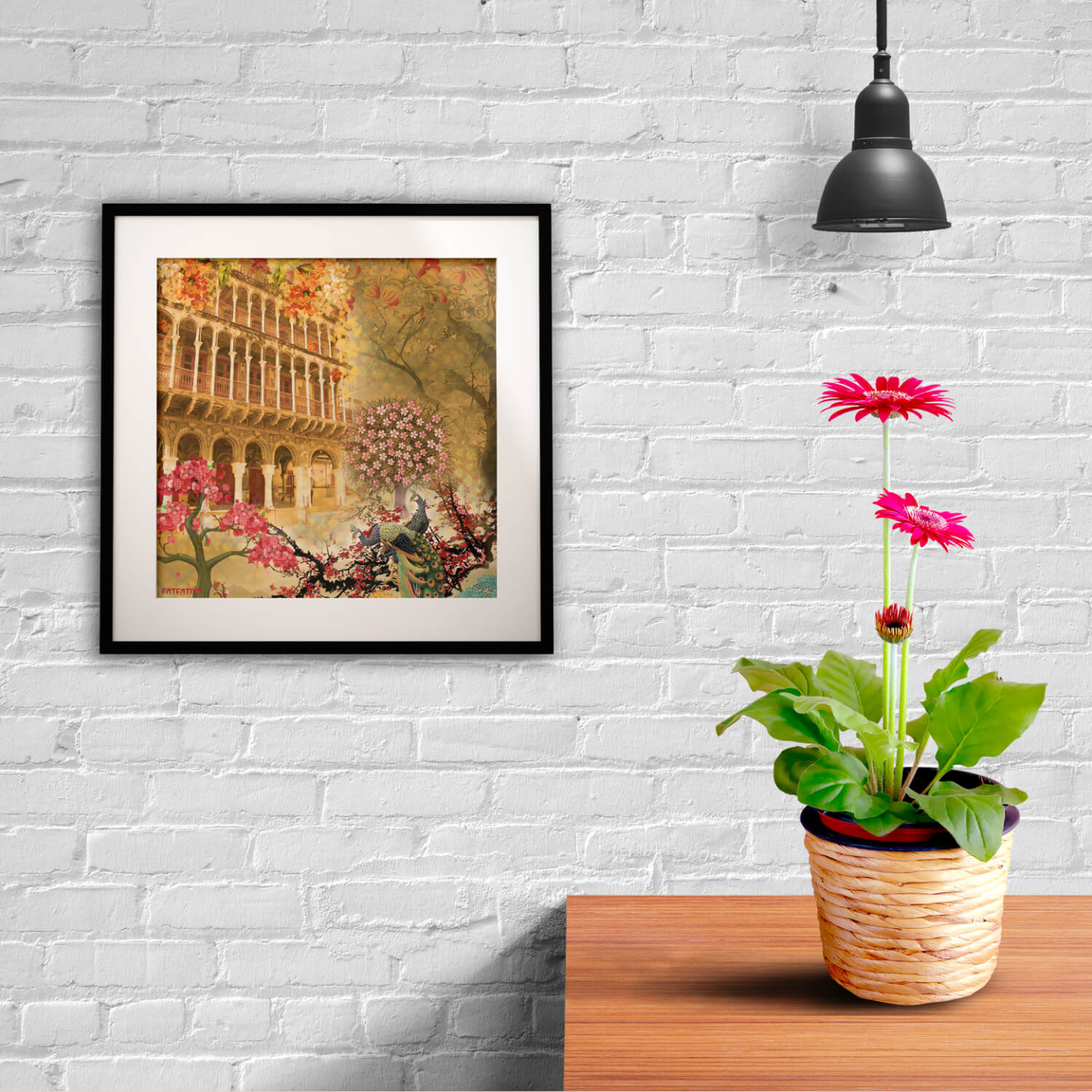 Historical Fort and Floral Themed Framed Art Print