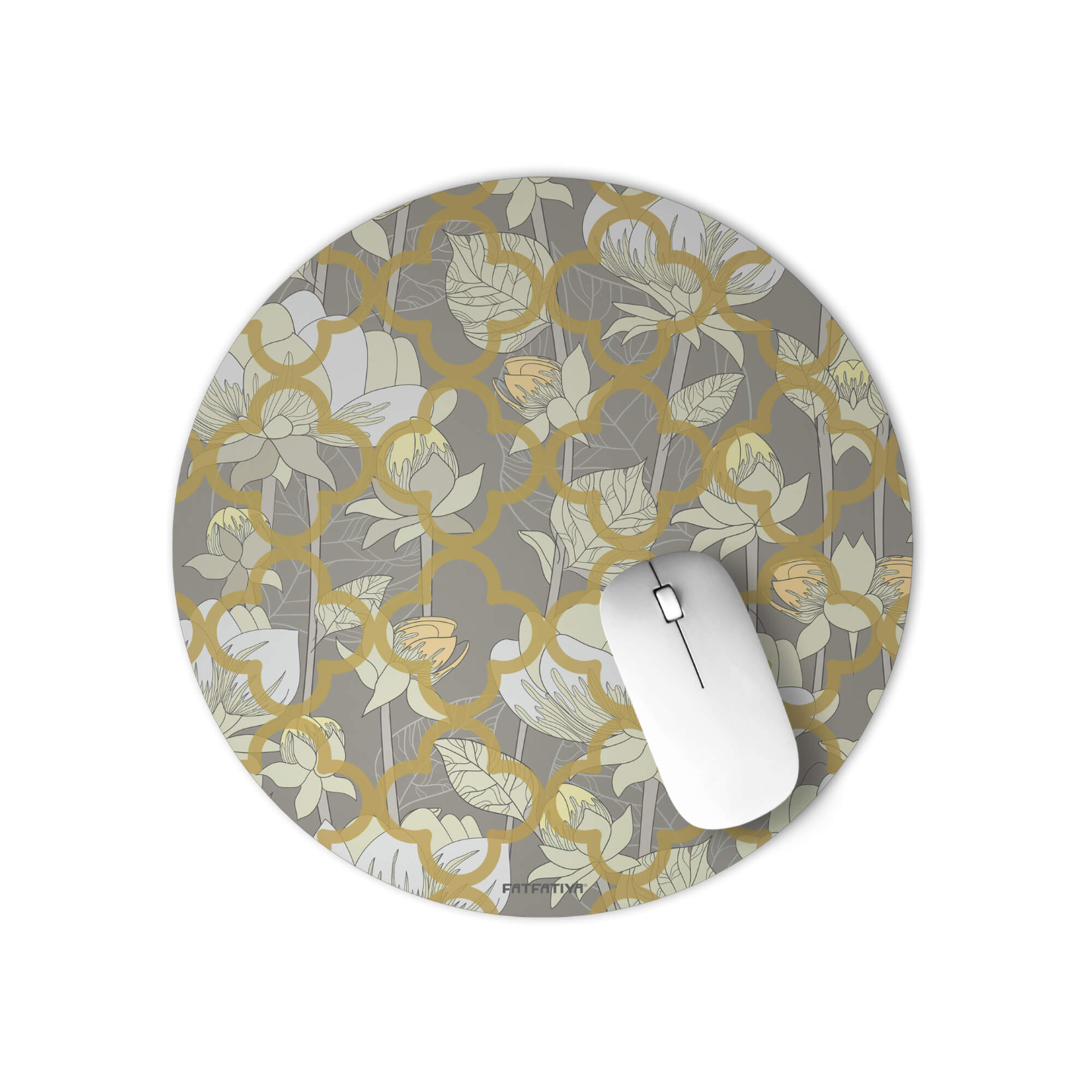 White Lotus Flower Round Office Mouse Pad