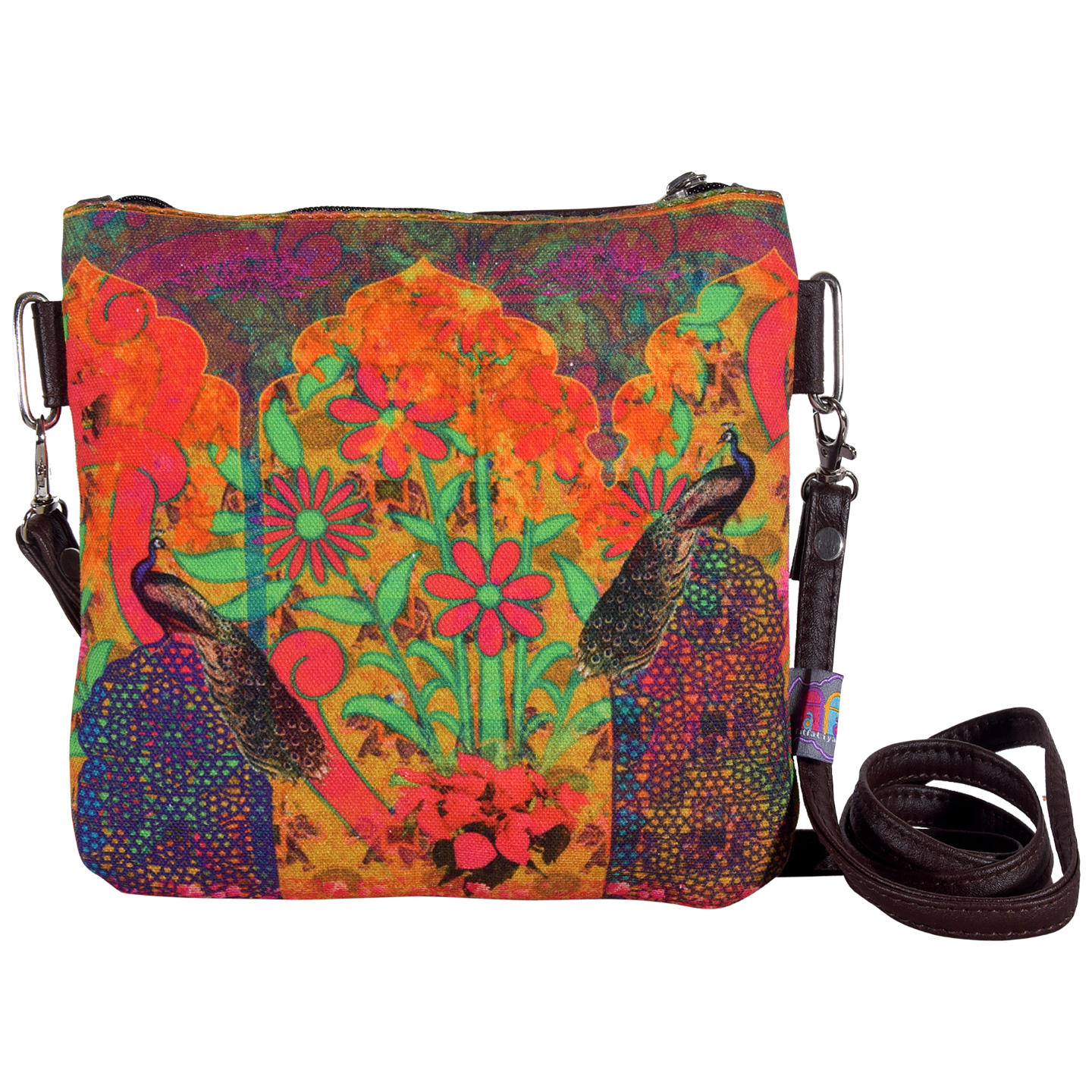 Two Peacock & Flower Small Sling Bag