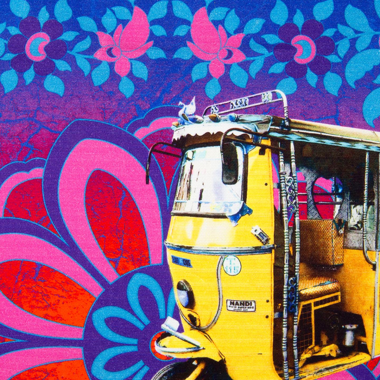 Shekhawati Auto Rickshaw Canvas PU Tote Bag for Women
