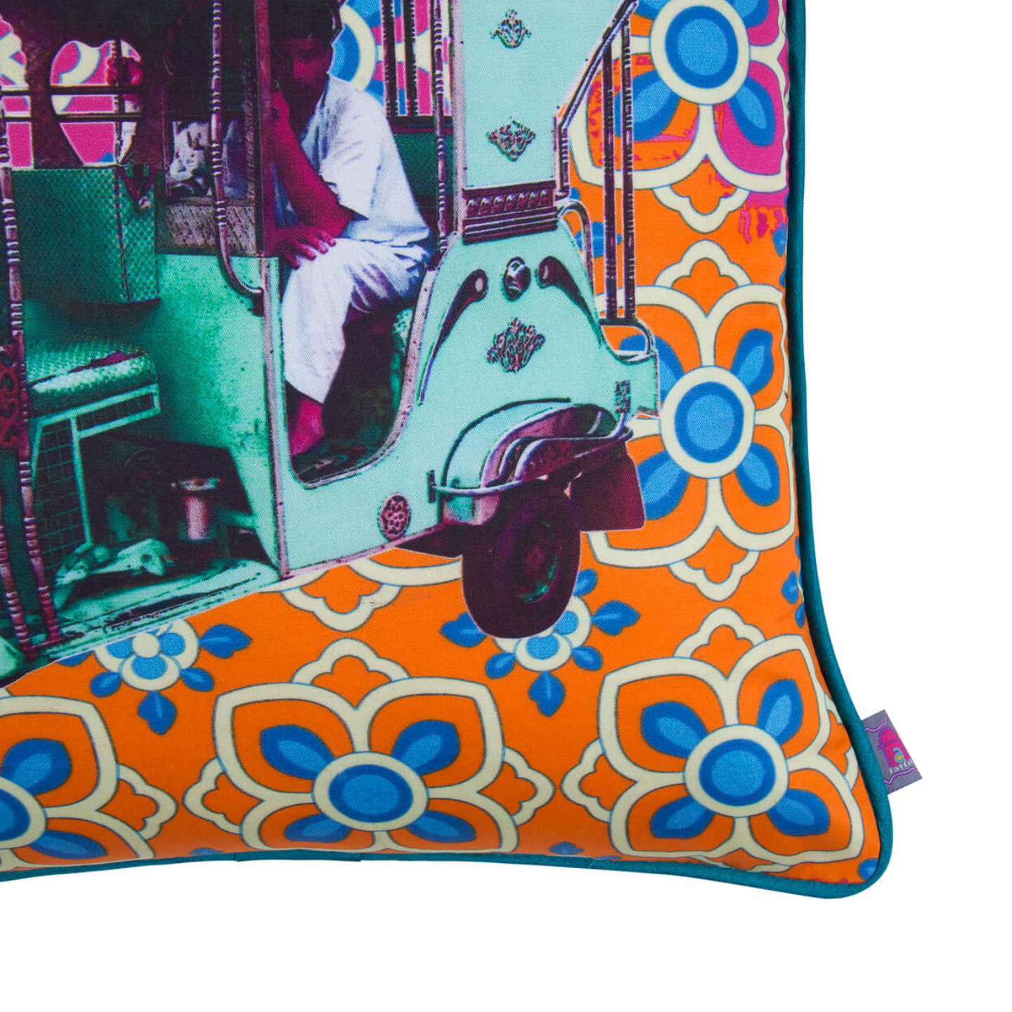 Turquoise Green Taxi Glaze Cotton Cushion Cover 16x16 Inches