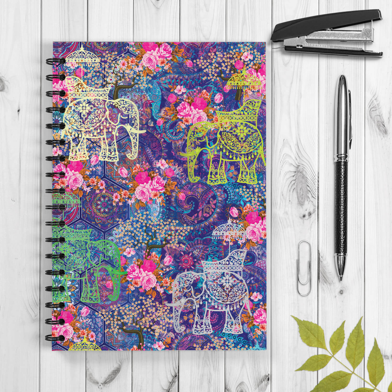 Indian Wedding Elephant Design Spiral Notebook
