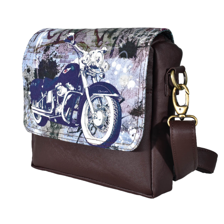 Blue Bike Canvas PU SlingCrossbody Bag