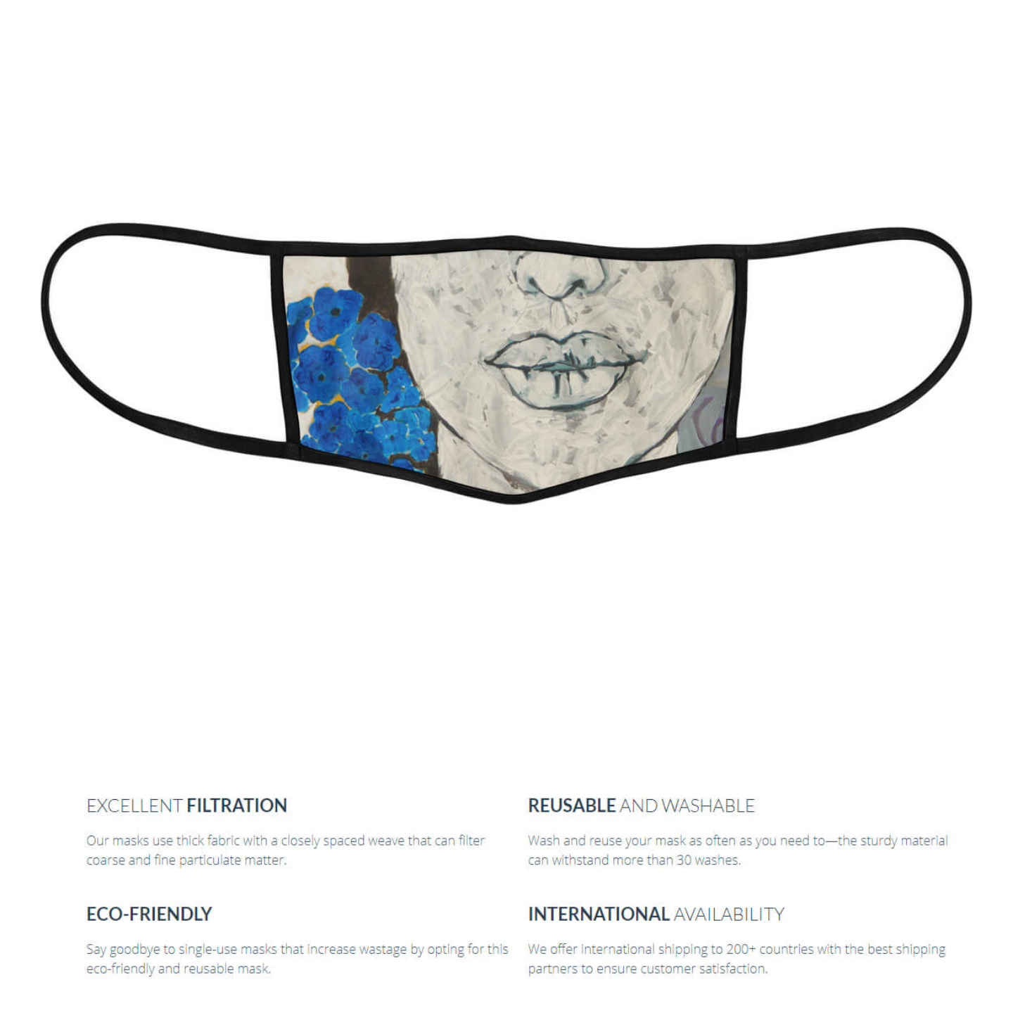 Blue Flowers Reusable Face Mask - Priyanka Waghela