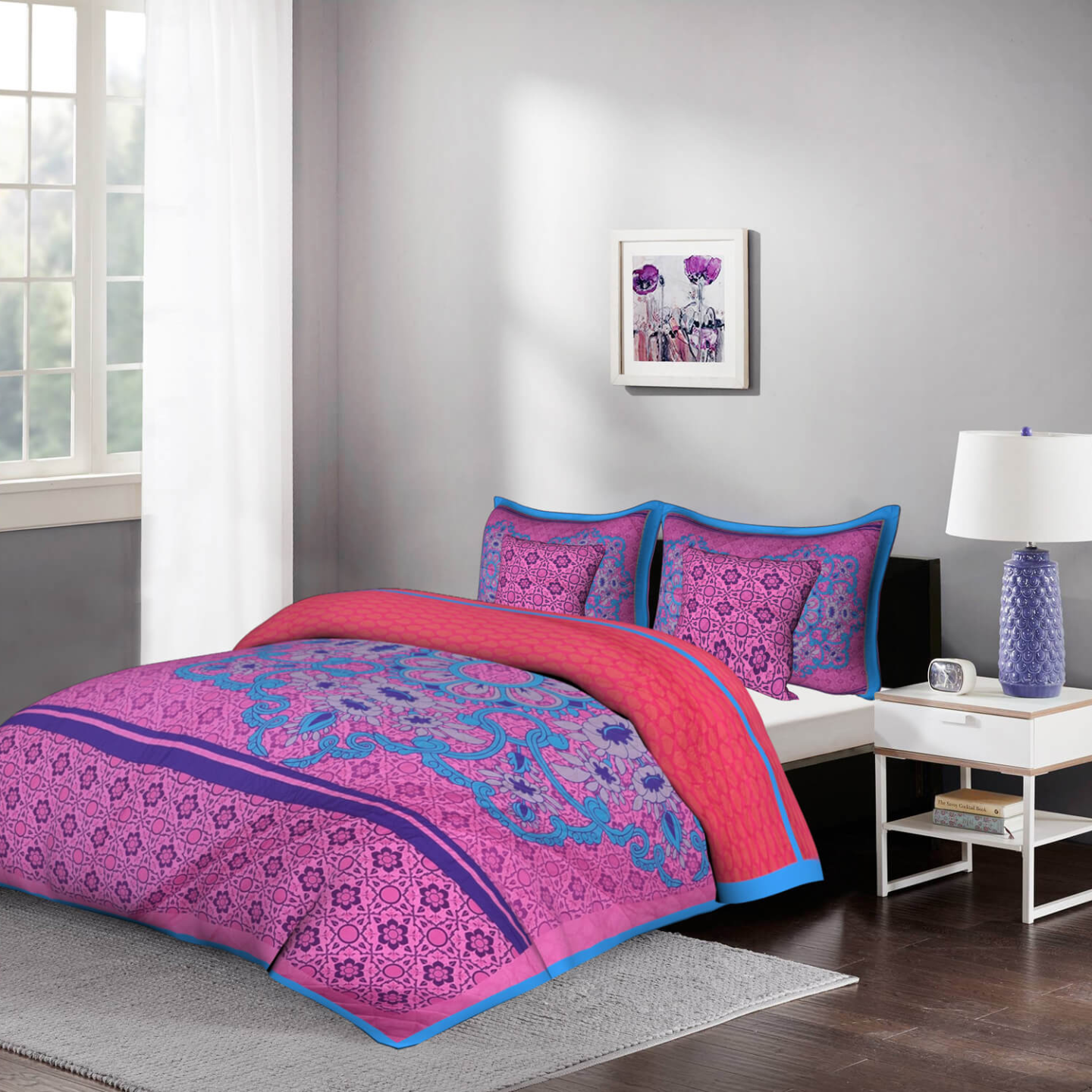 Bold Pink 5 Piece King Size Cotton Quilted Bedspread