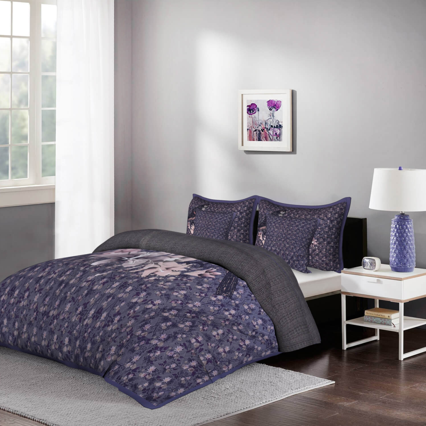 Birdsong 5 Piece King Size Cotton Quilted Bedspread