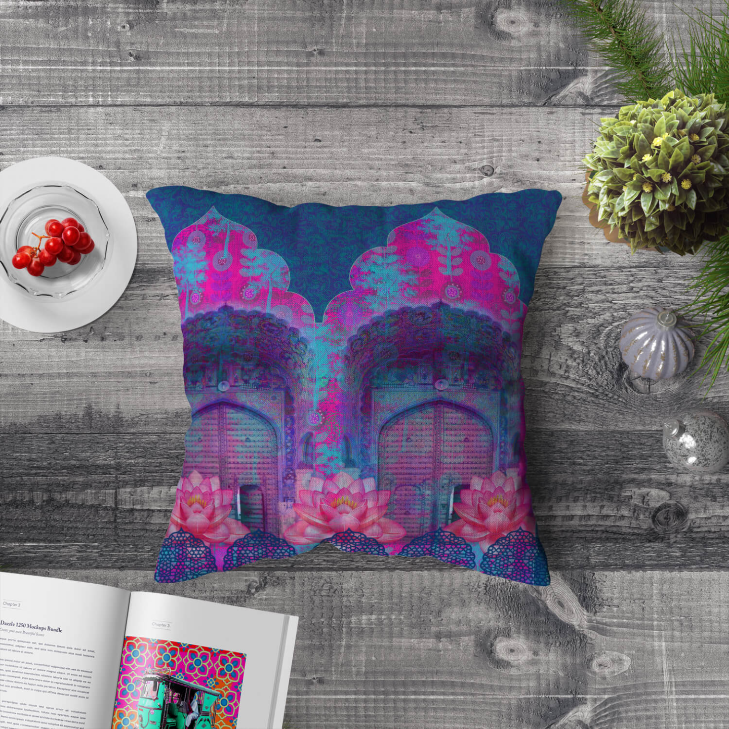 Cool Blue Rajasthani Poly Canvas Cushion Cover