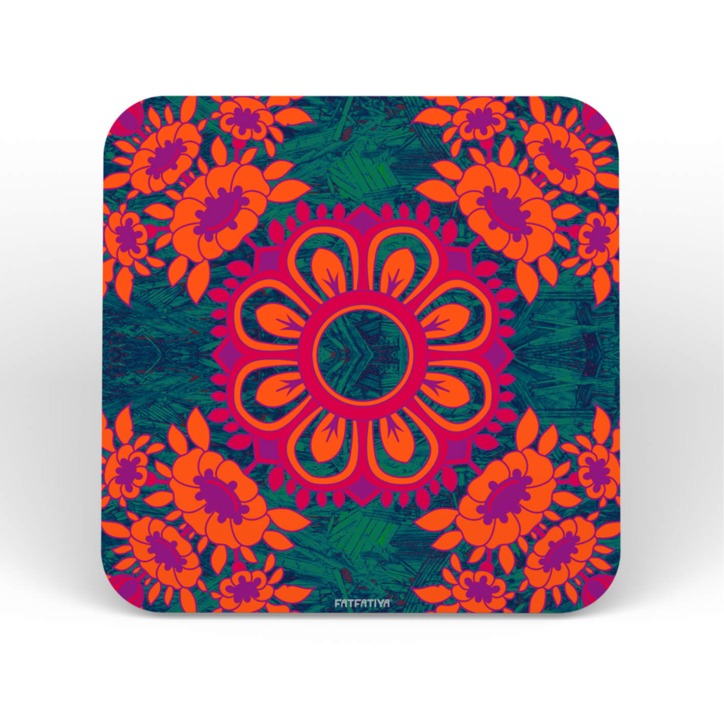 Magnificent Flower Motif Set of 6 Printed Coasters