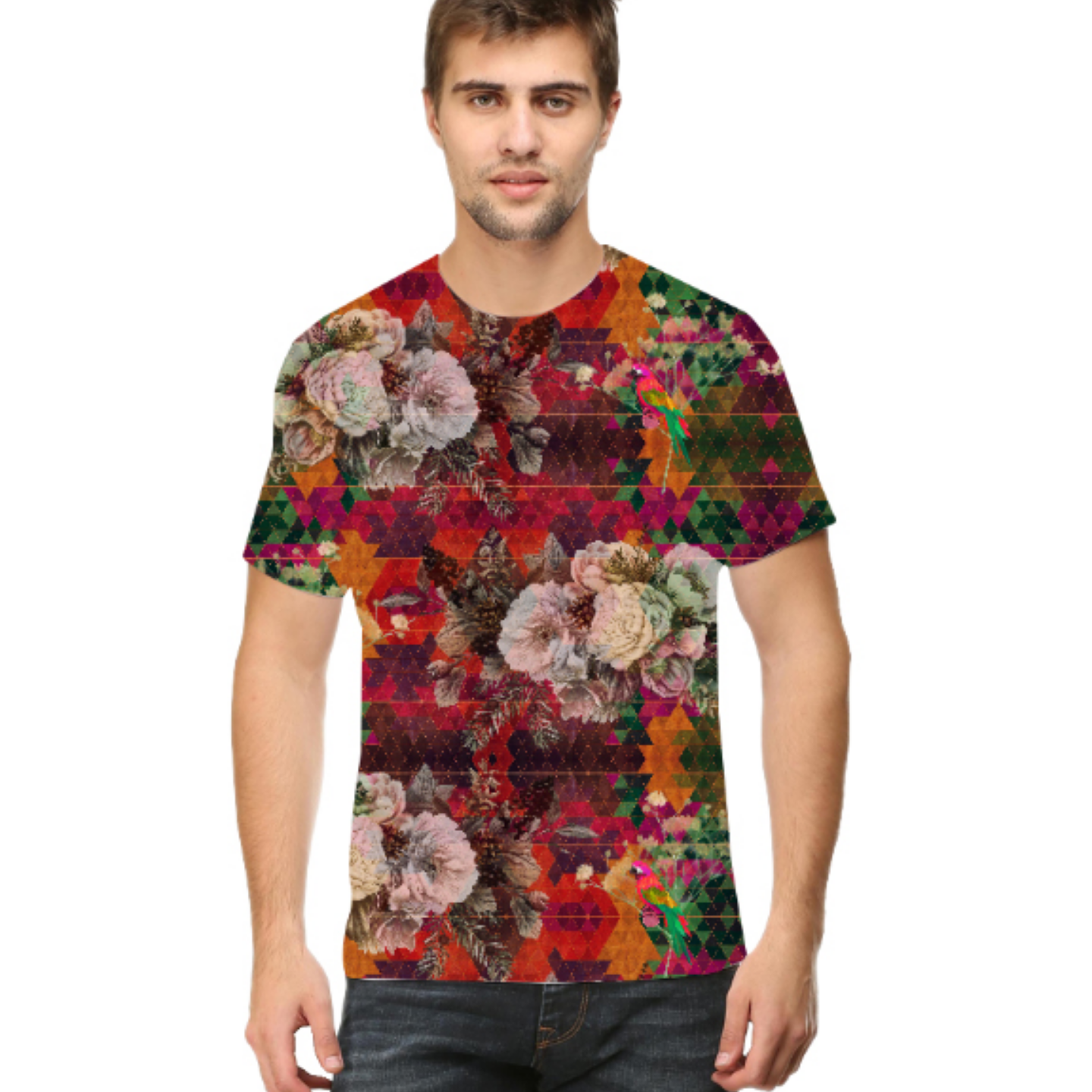Men Multicoloured Floral Round Neck T-Shirt