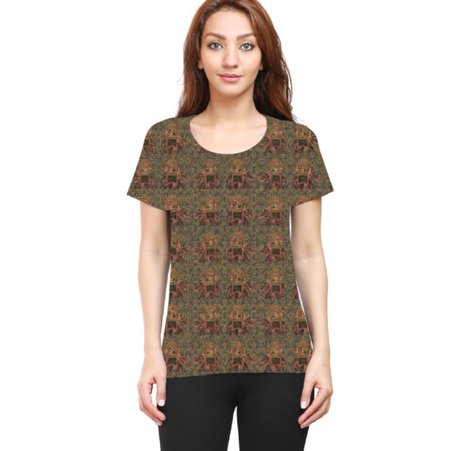 Women Brown Round Neck Multicoloured Round Neck T-Shirt