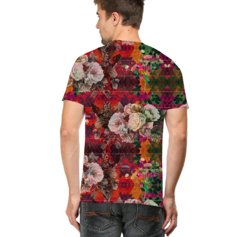 Men Multicoloured Floral Round Neck T-Shirt