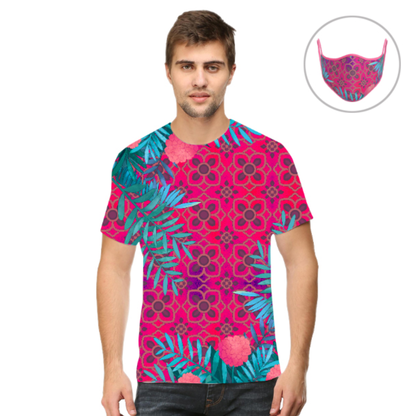 Men Pink and Blue Jungle T-Shirt Mask Combo