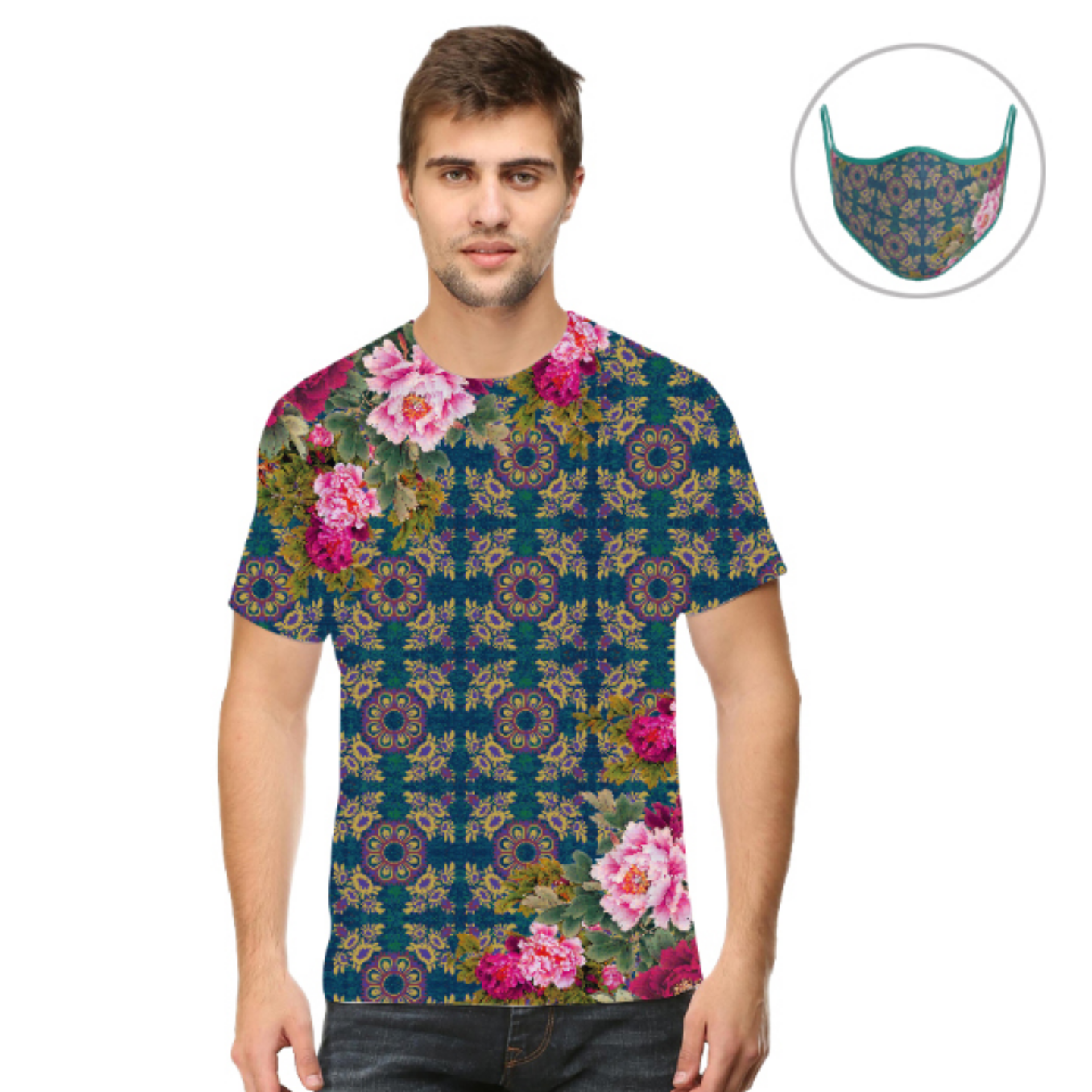 Men Geometric Design Floral T-Shirt Mask Combo