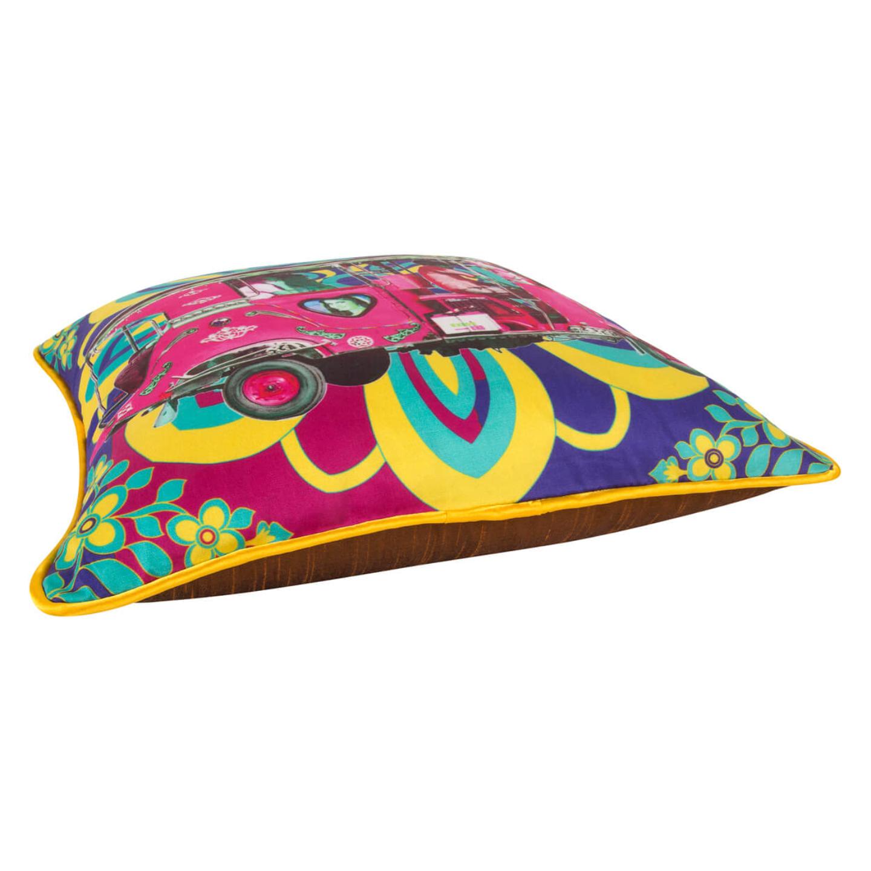 Gulabi Auto Rickshaw Glaze Cotton Cushion Cover 16x16 Inches