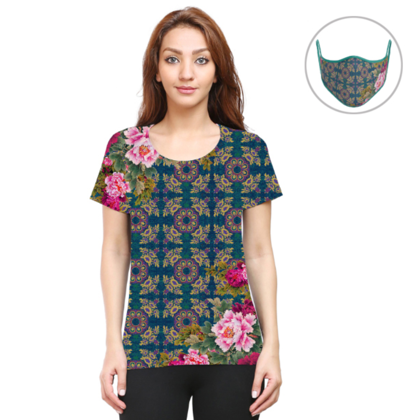 Women Geometric Design Floral T-Shirt Mask Combo