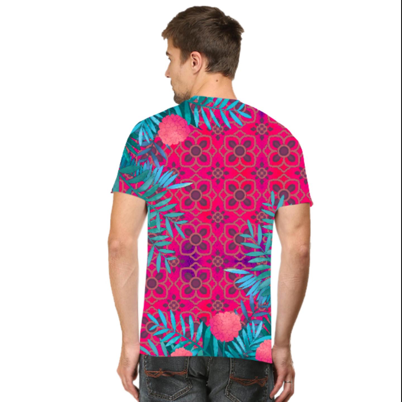 Men Pink and Blue Jungle T-Shirt Mask Combo