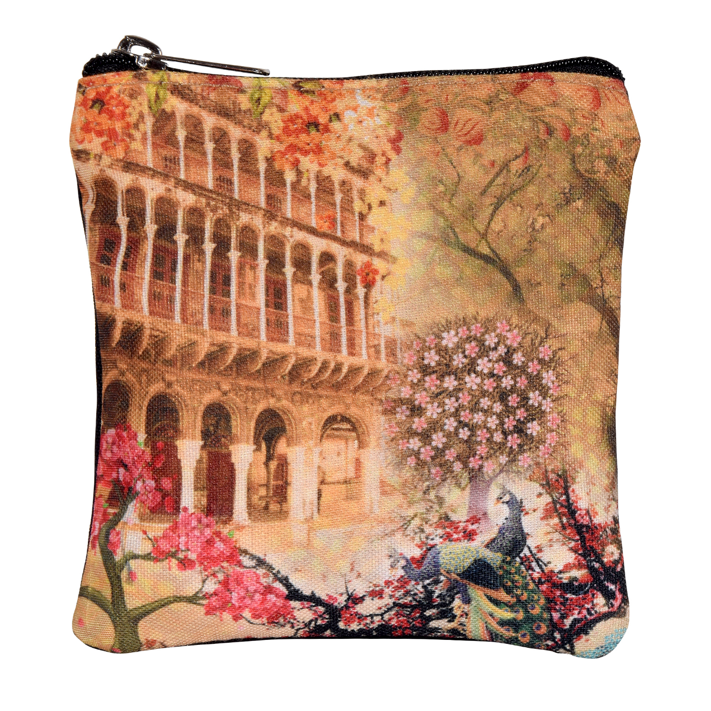 Haveli and Floral Poly Canvas Coin Pouch