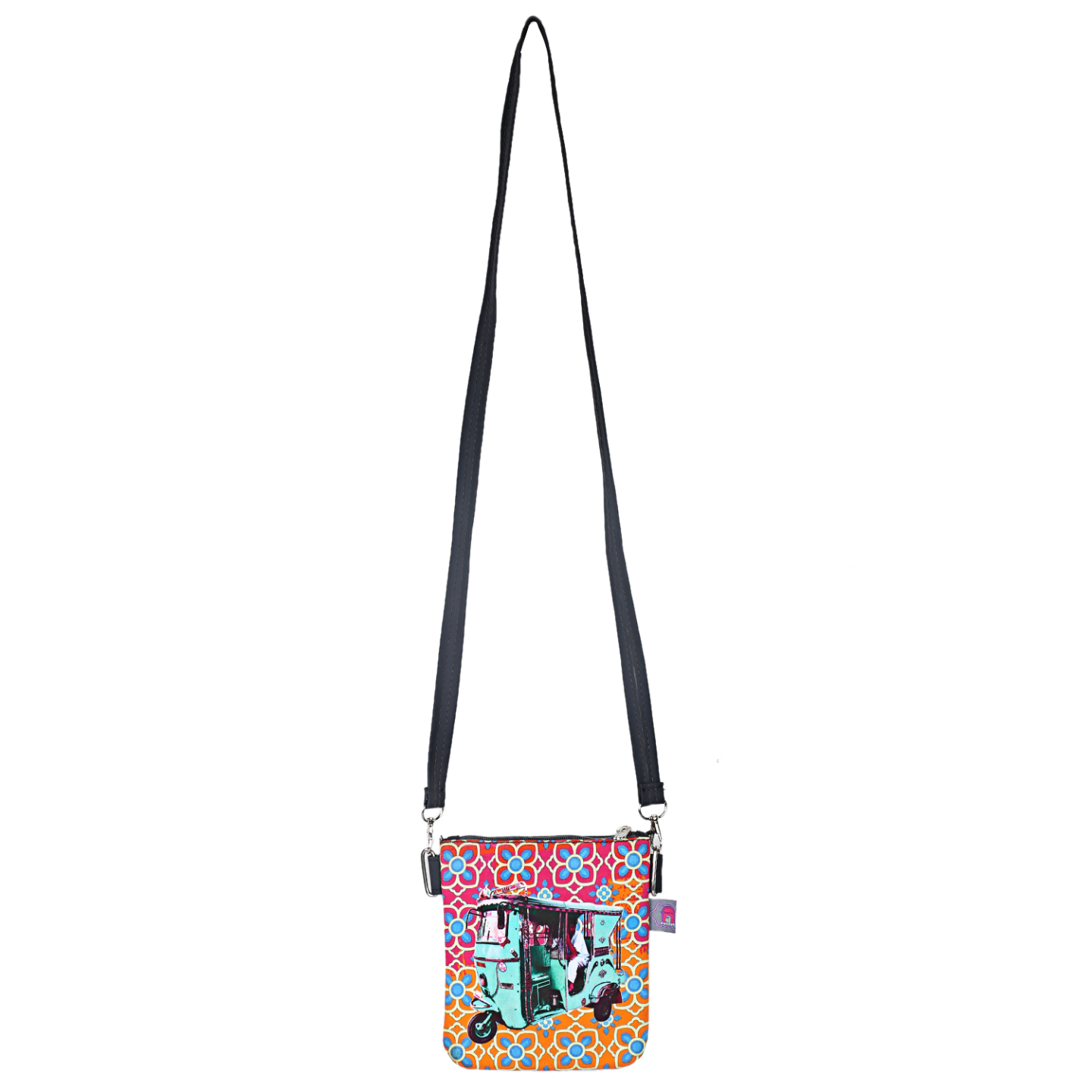 Turquoise Green Taxi Canvas PU Small  Sling Bag