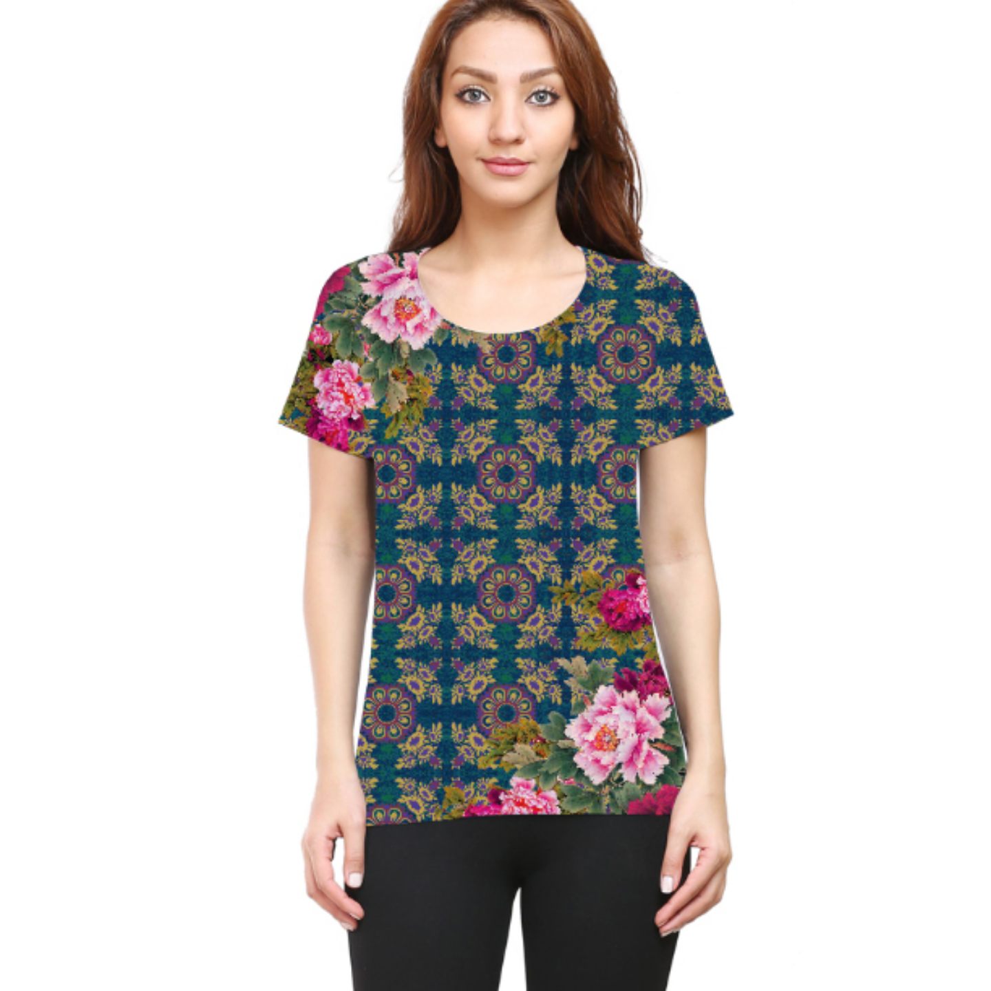 Women Geometric Design Floral Round Neck T-Shirt