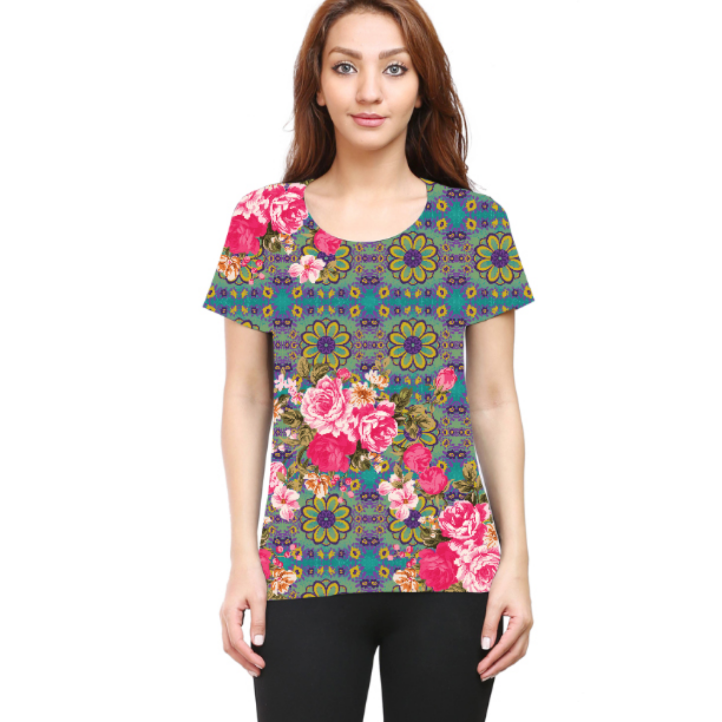 Women Cool Blue and Pink Flowery Round Neck T-Shirt
