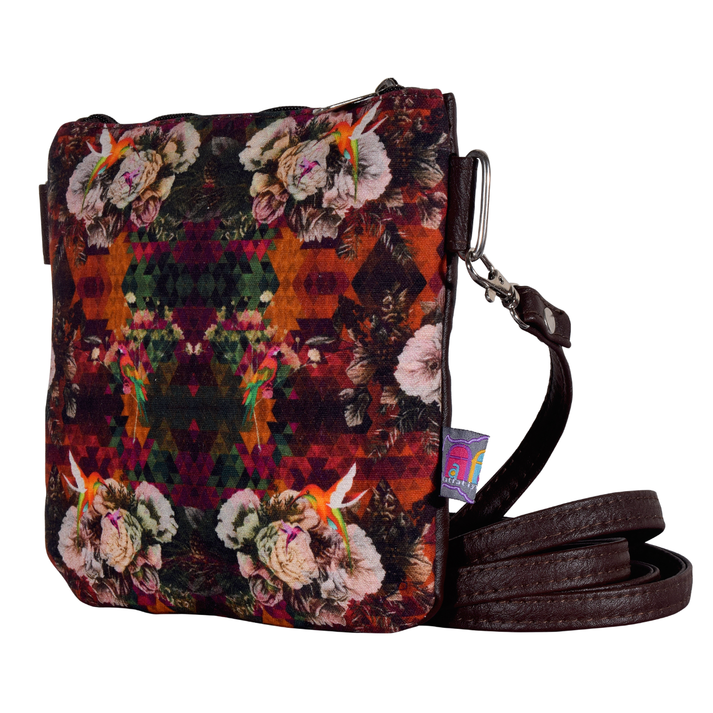 Multicoloured Floral Canvas PU Small Sling Bag