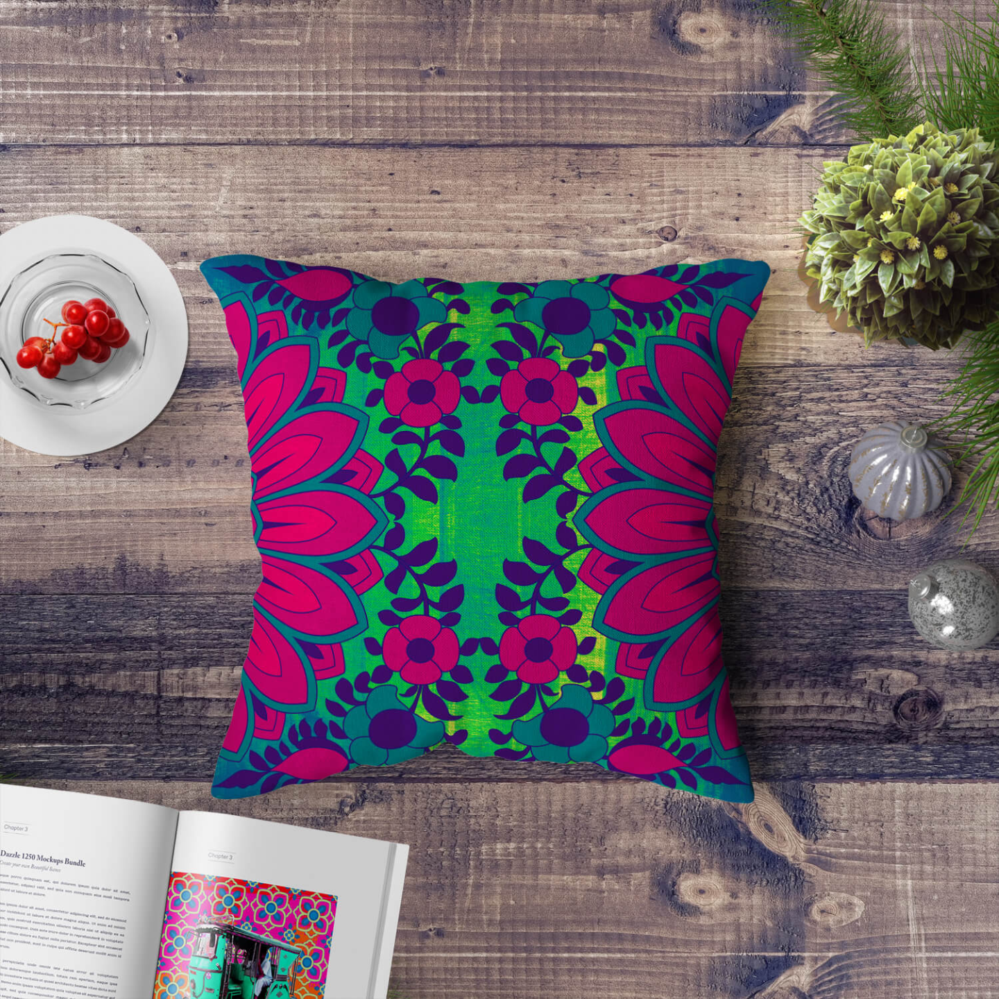 Blooming Flower Motif Cushion Cover Set of 2
