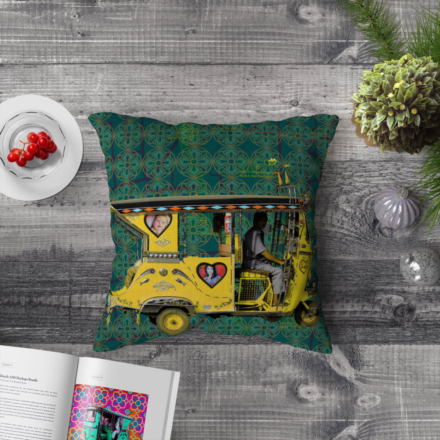 Yellow Auto Rickshaw Poly Canvas Cushion Cover