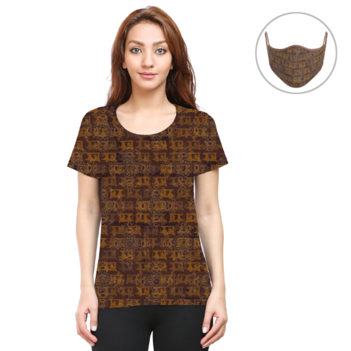 Women Brown Ancient Flower T-Shirt Mask