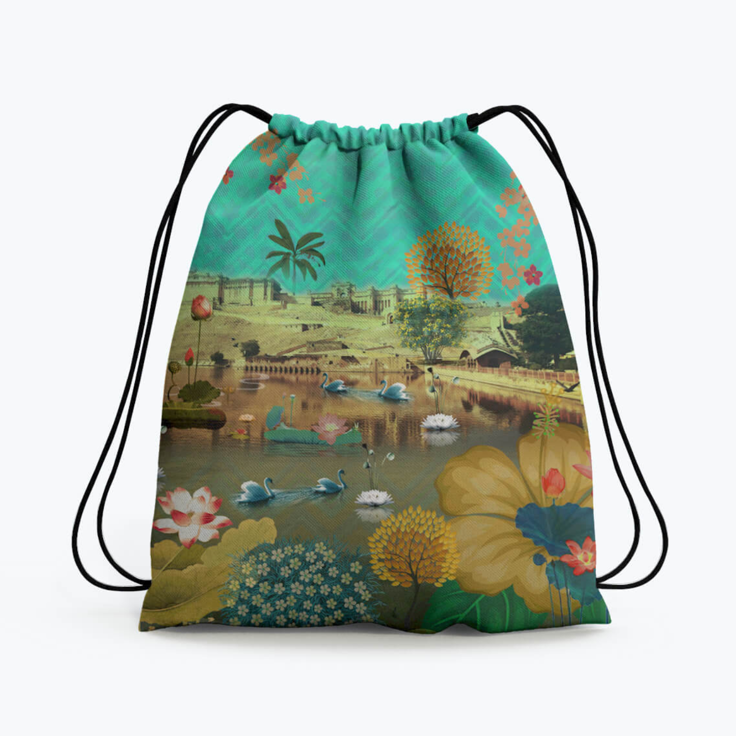 Beautiful Lakeside Drawstring Bag