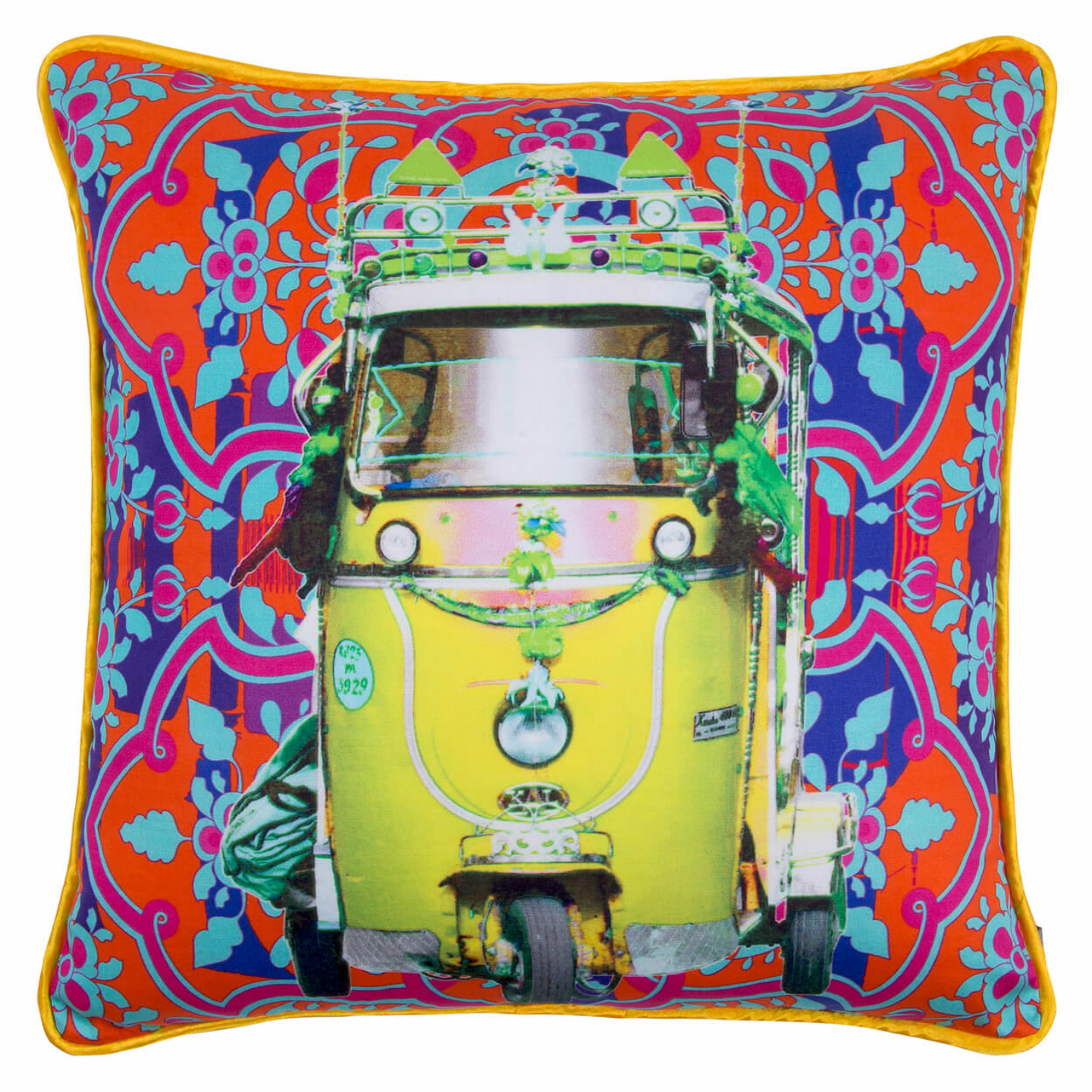Lemon Yellow Taxi Glaze Cotton Cushion Cover 16x16 Inches