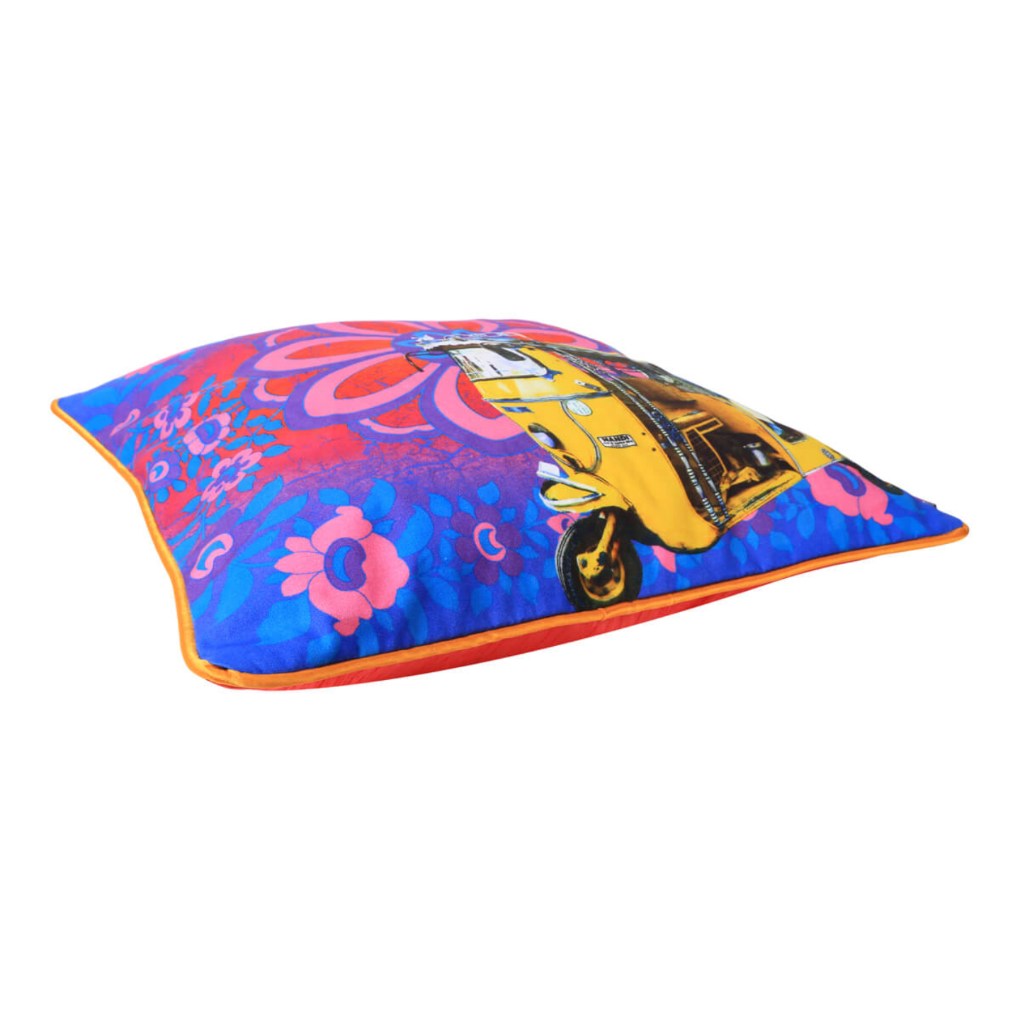 Yellow Taxi Glaze Cotton Cushion Cover 16x16 Inches