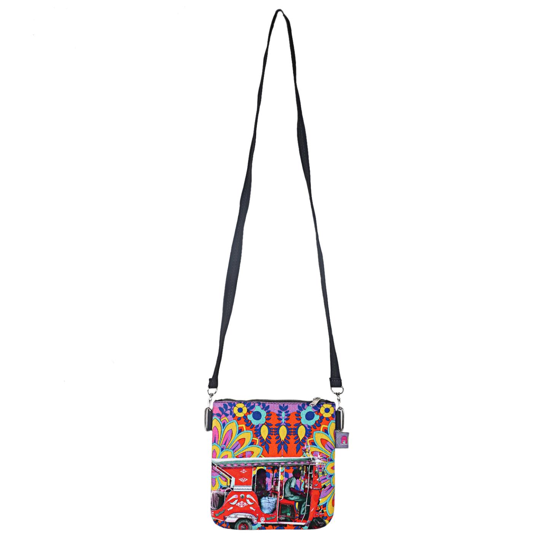 Crimson Taxi Designer Canvas PU Small  Sling Bag