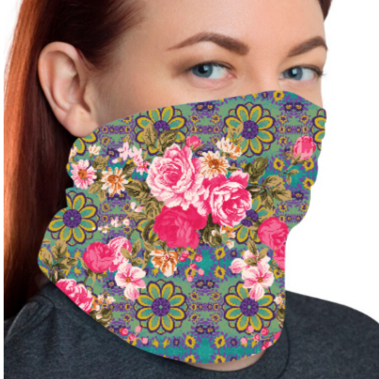 Pink and Blue Jungle Themed Unisex Bandana Mask