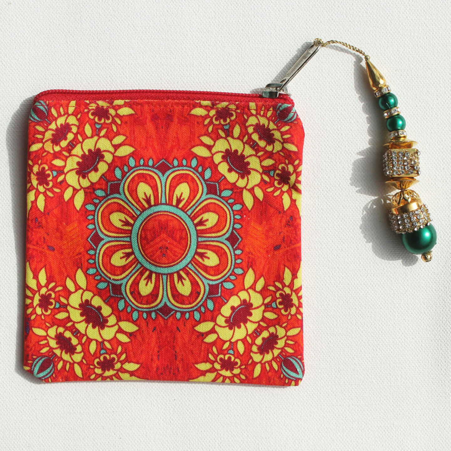 Gorgeous Flower Motif Canvas Coin Pouch/Purse