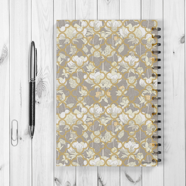 White Lotus Flower Pattern Spiral Notebook