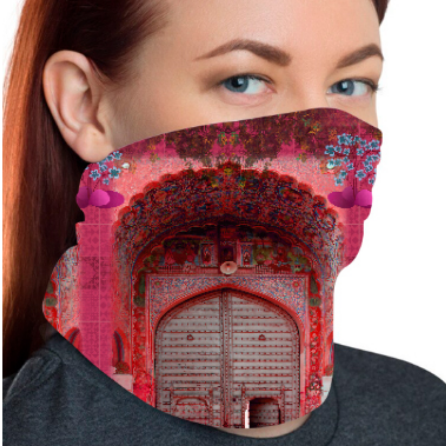 Pink Royal Door Design Unisex Bandana Mask