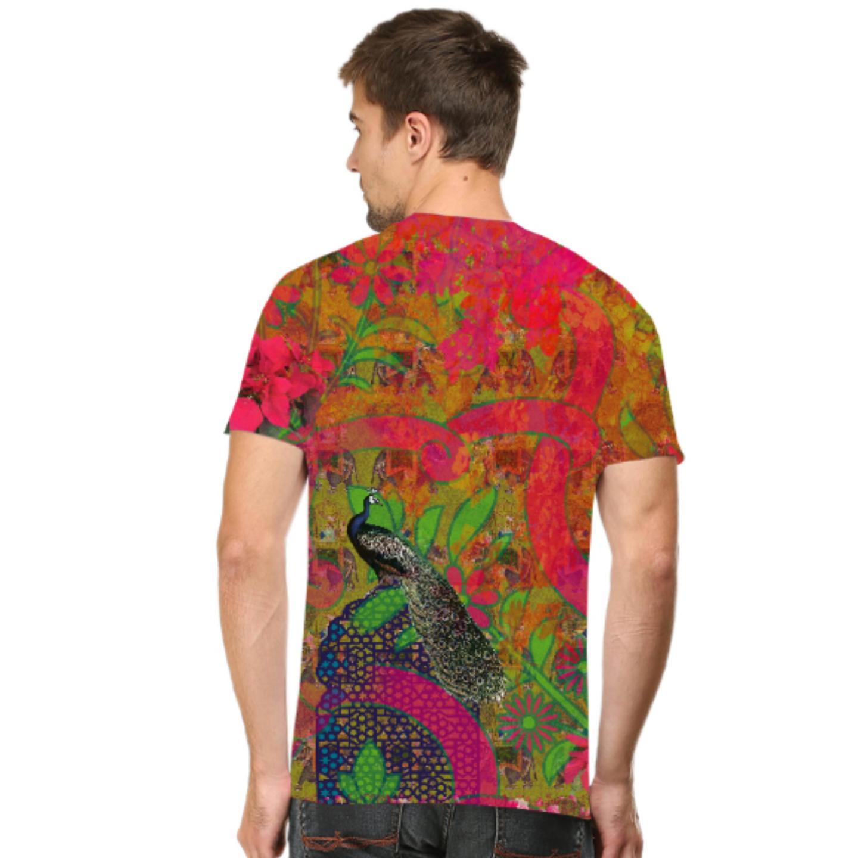 Men Peacock Theme T-Shirt Mask Combo