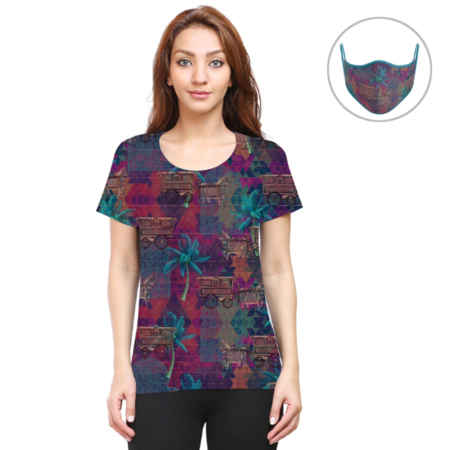 Women Multicoloured Stylish T-Shirt Mask Combo
