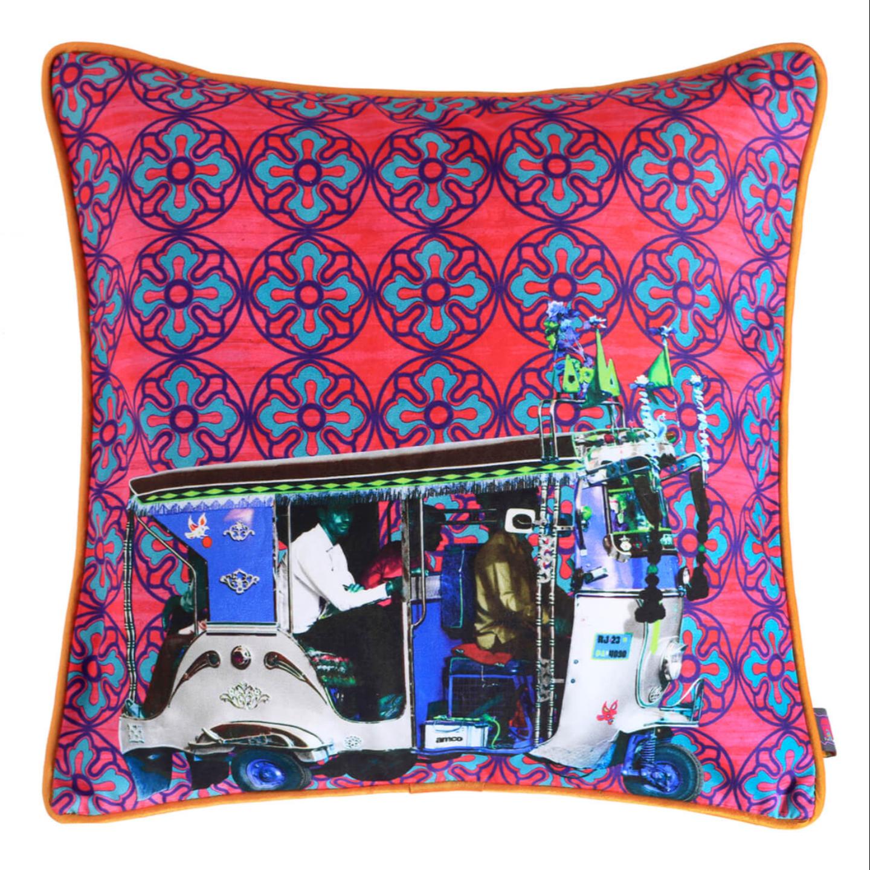 Silver Auto Rickshaw Glaze Cotton Cushion Cover 16x16 Inches