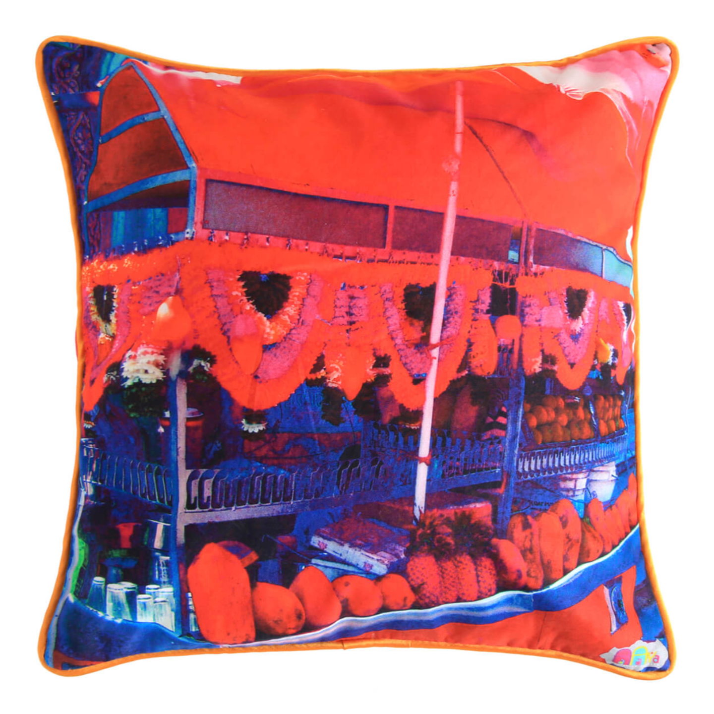 Juice Stall Glaze Cotton Cushion Cover 16x16 Inches