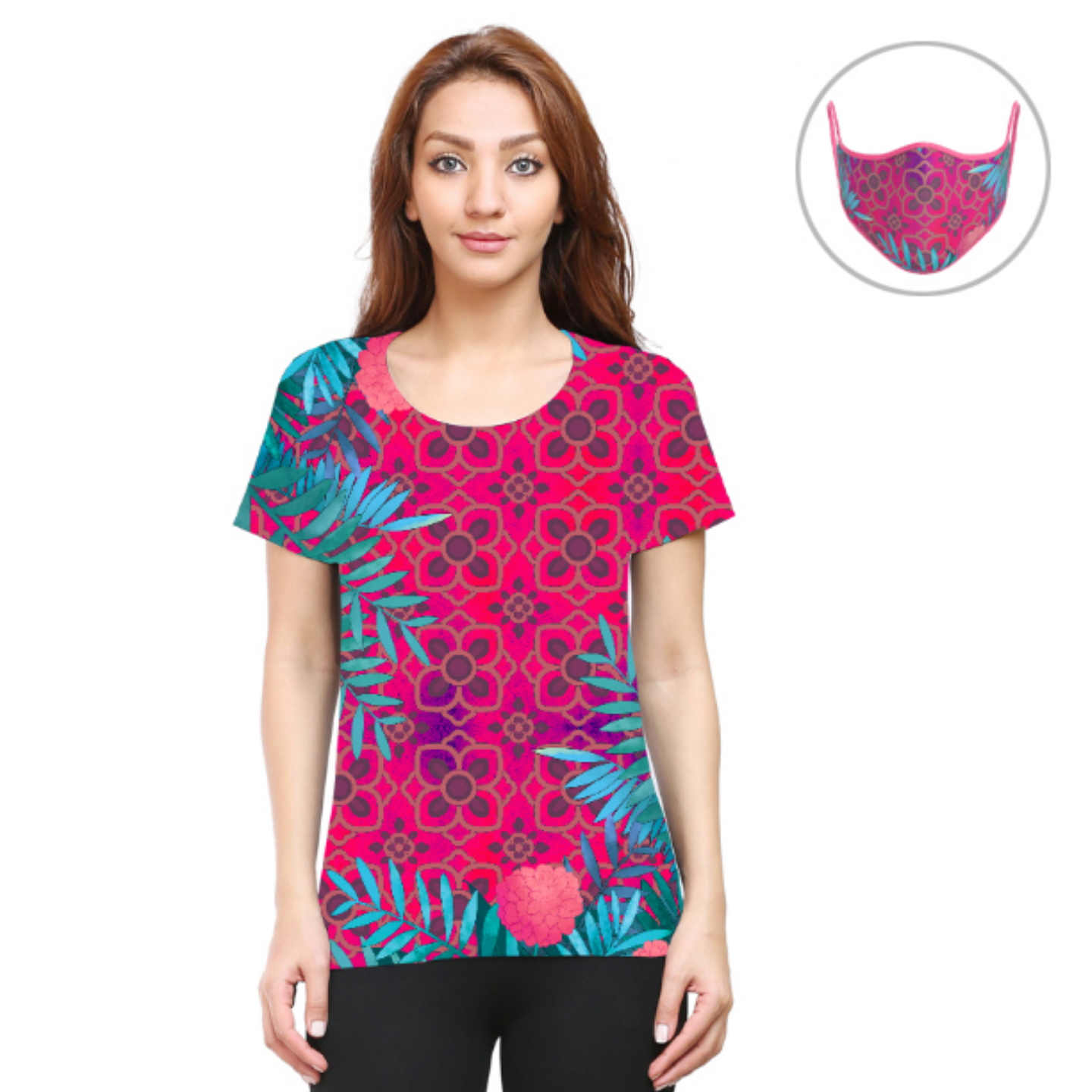 Women Pink and Blue Jungle T-Shirt Mask Combo