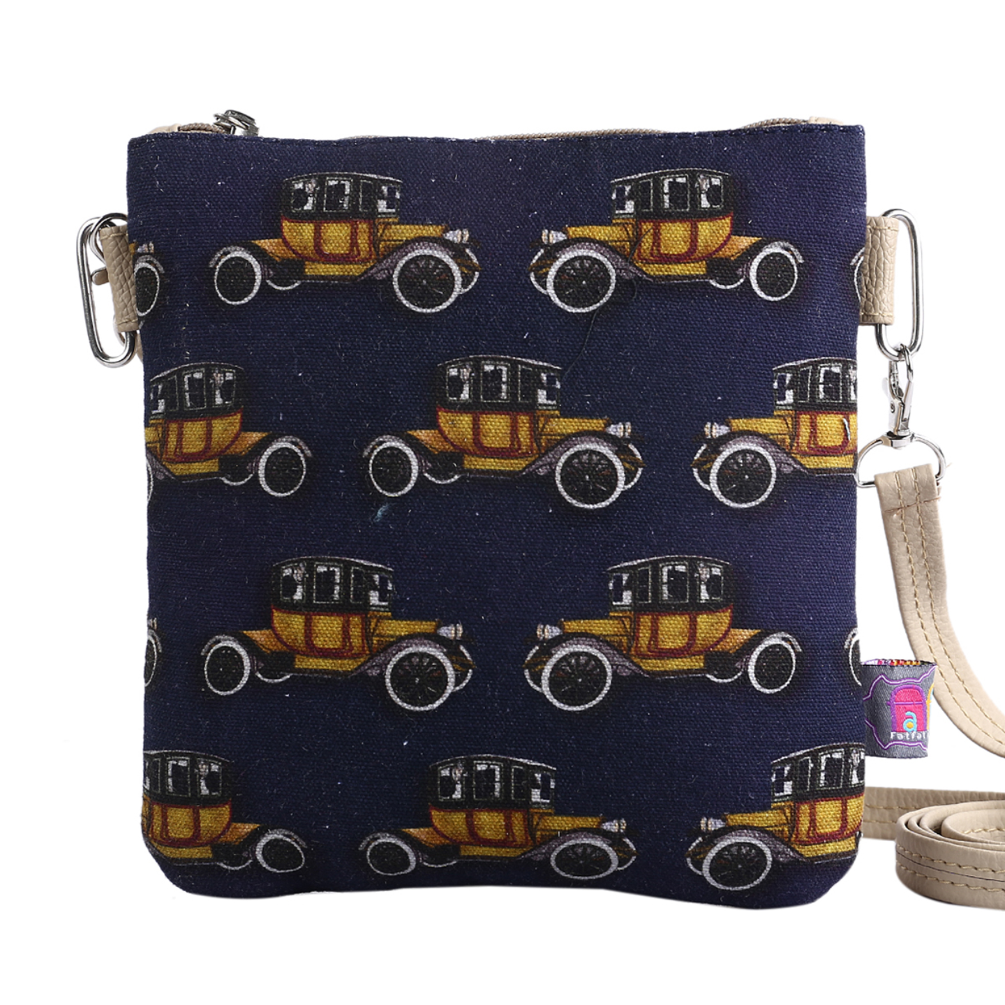 Vintage Car Designer Canvas PU Small Sling Bag