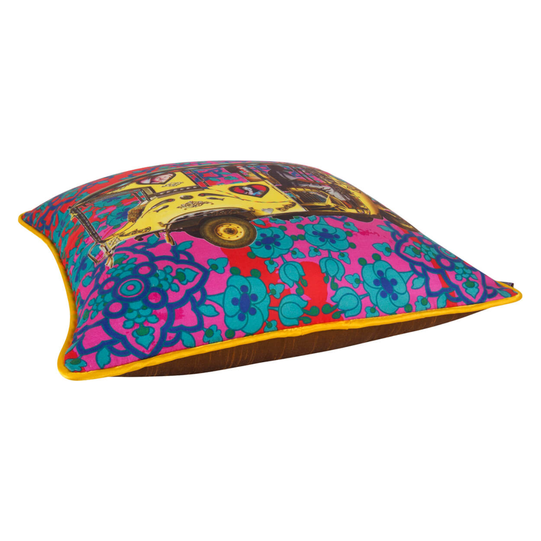 Golden Taxi Glaze Cotton Cushion Cover 16x16 Inches